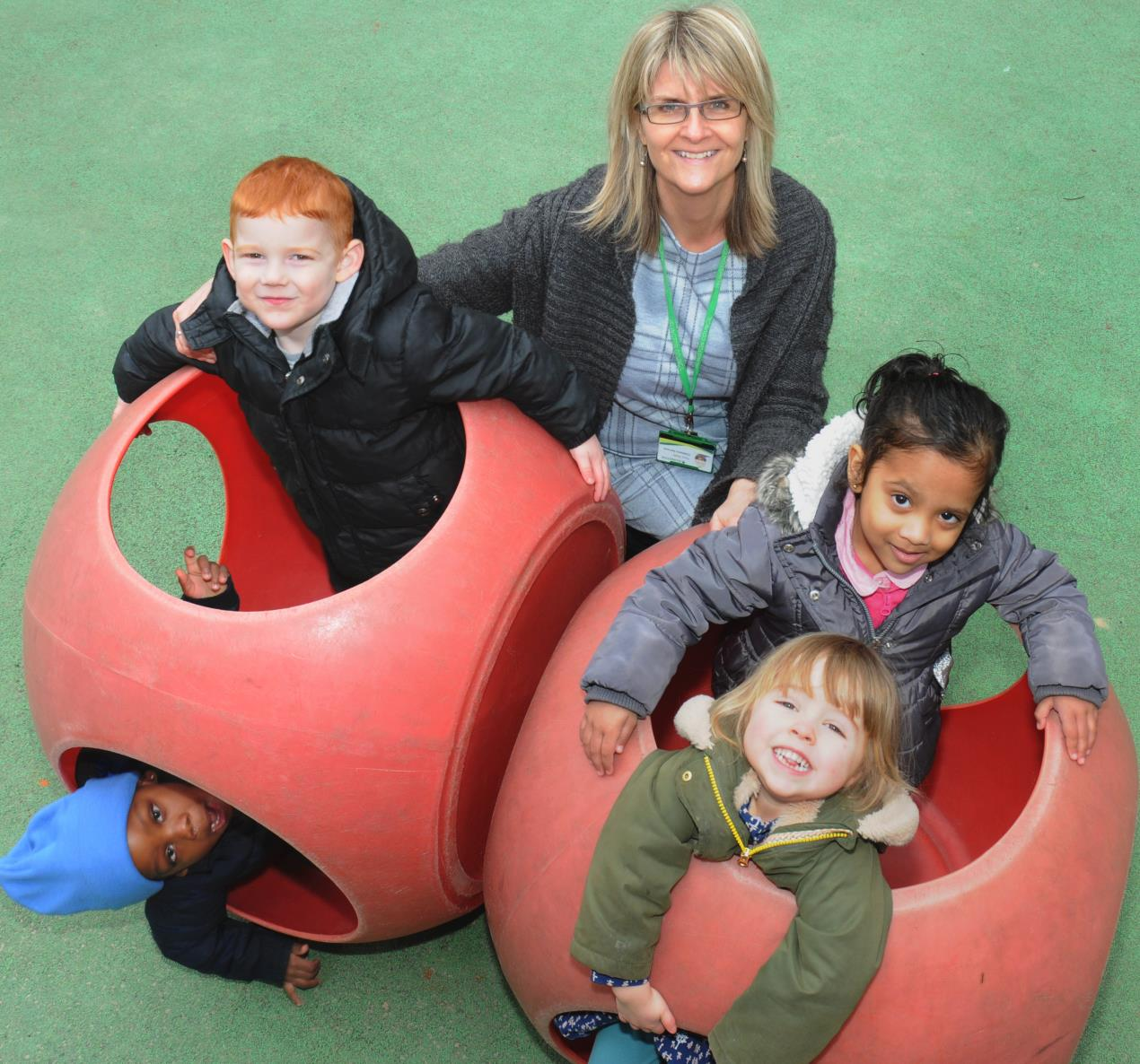 Tracy Smith, interim executive headteacher at Westbourne Early Years Centre, with pupils