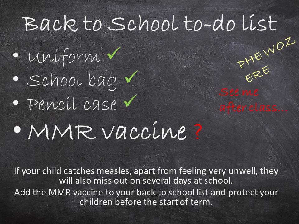Book bag, pencil case, school uniform, MMR vaccine?