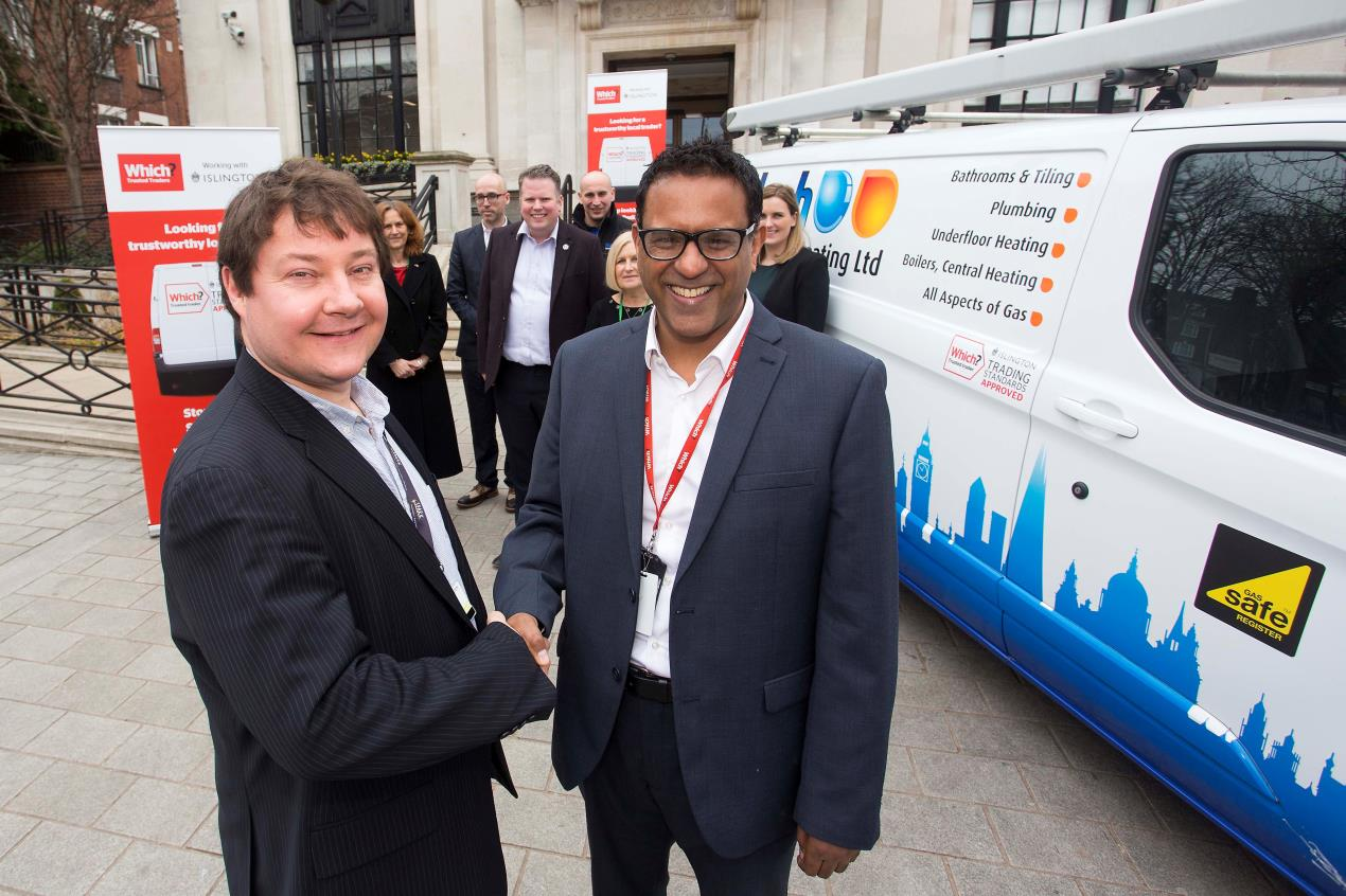 Cllr Andy Hull (L) and Raj Kakar-Clayton at launch of Islington's Trusted Trader scheme