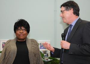 Director of Housing and Adult Social Services Sean McLaughlin thanks Evelyn for her years of service.JPG