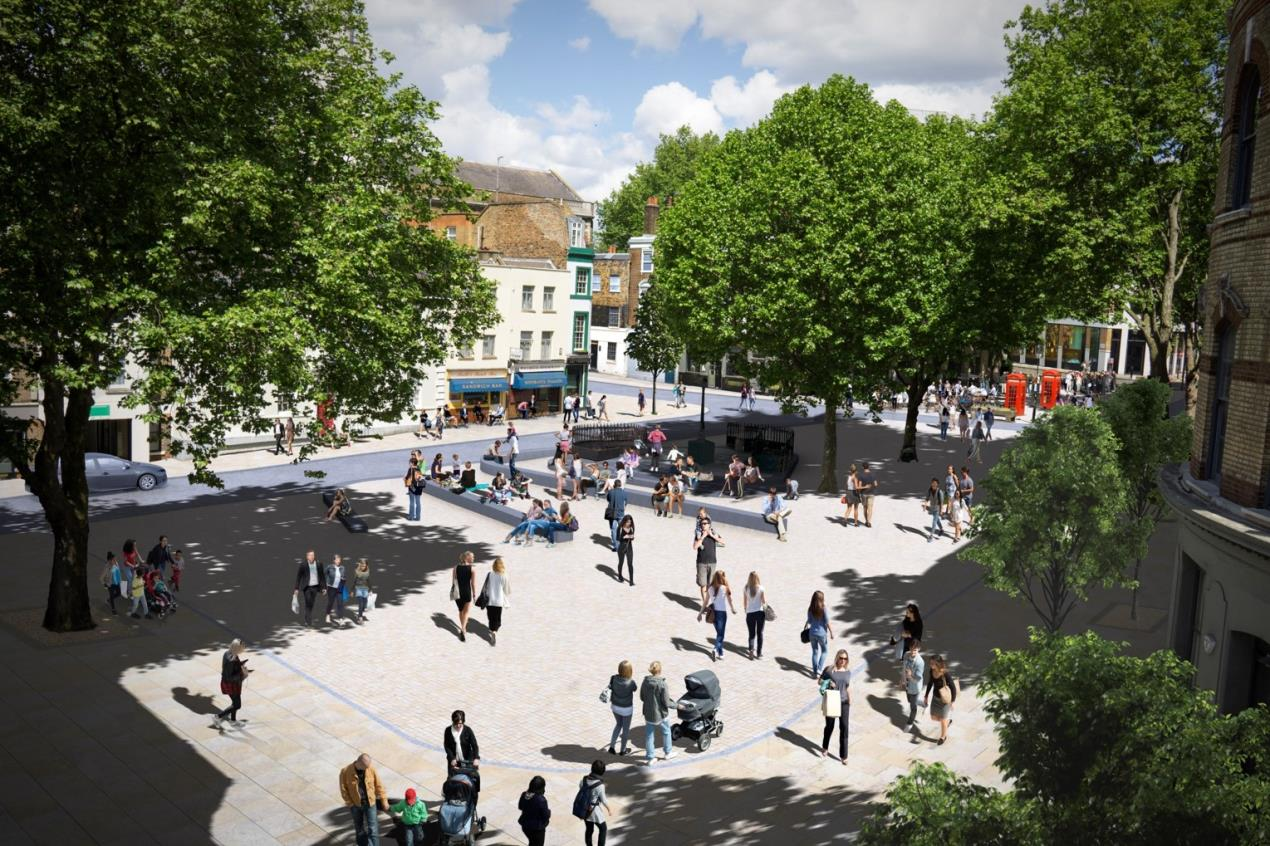 Clerkenwell Green proposal - view looking towards Clerkenwell Close from Clerkenwell Road