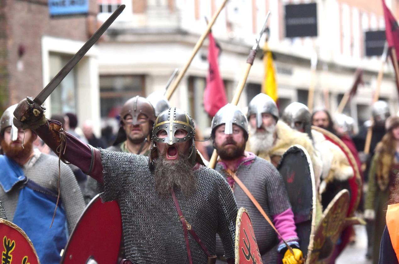 Vikings march to Coppergate at JORVIK Viking Festival 2018