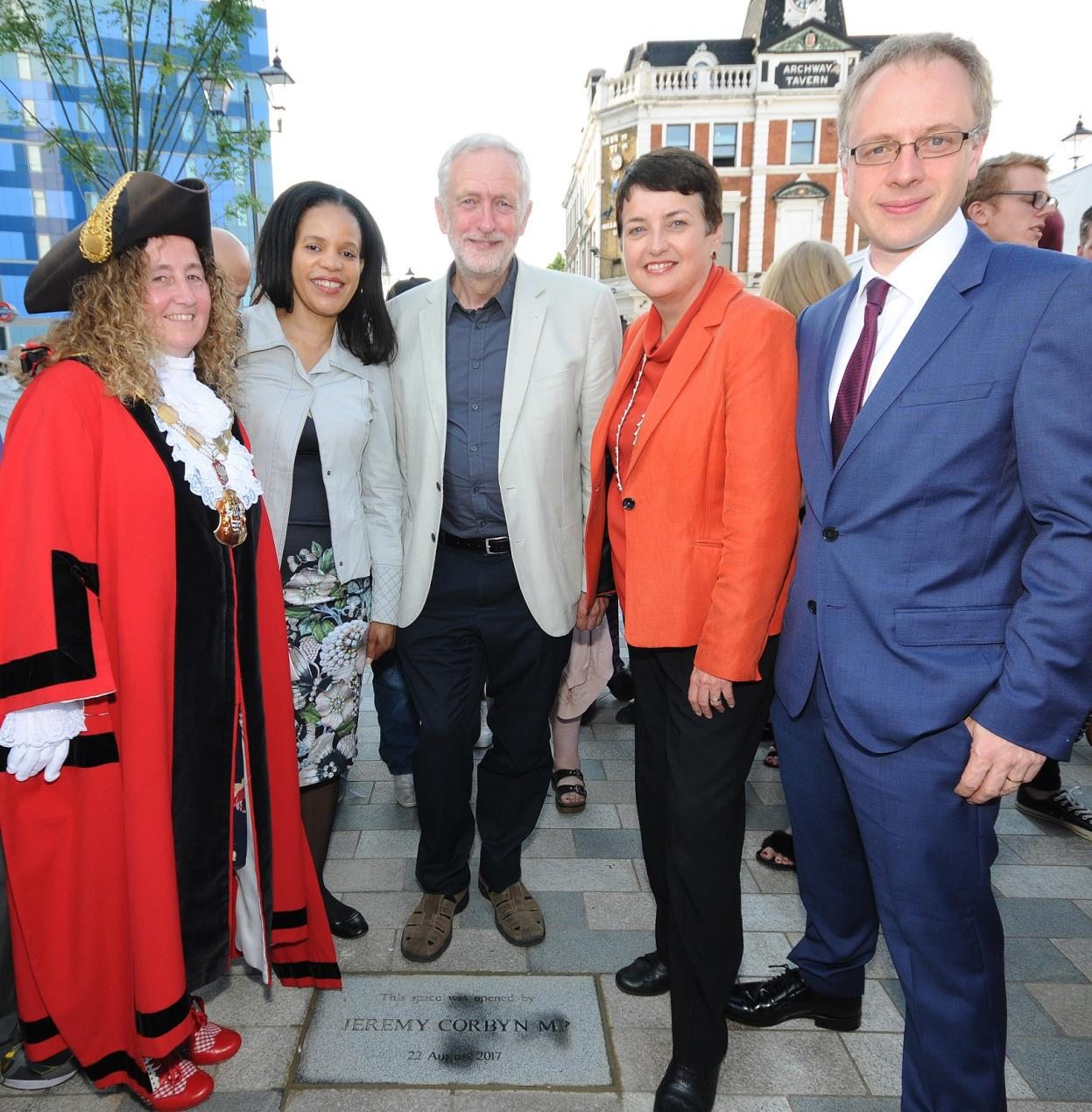 Opening of public space at Archway. From left: Islington Mayor Cllr Una O'Halloran, Cllr Claudia Webbe, Jeremy Corbyn MP, London Deputy mayor for Transport Val Shawcross and Islington Council leader Cllr Richard Watts.