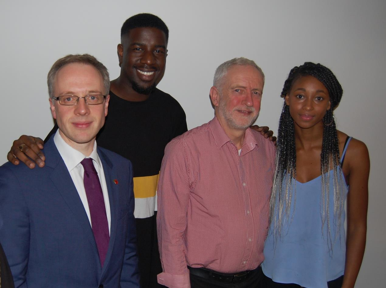 Islington Council leader Cllr Richard Watts, chair of the Fair Futures Commission Jermain Jackman, Islington North MP Jeremy Corbyn and Islington Youth Councillor Miriam Fleary at the recent Fair Futures Commission event.