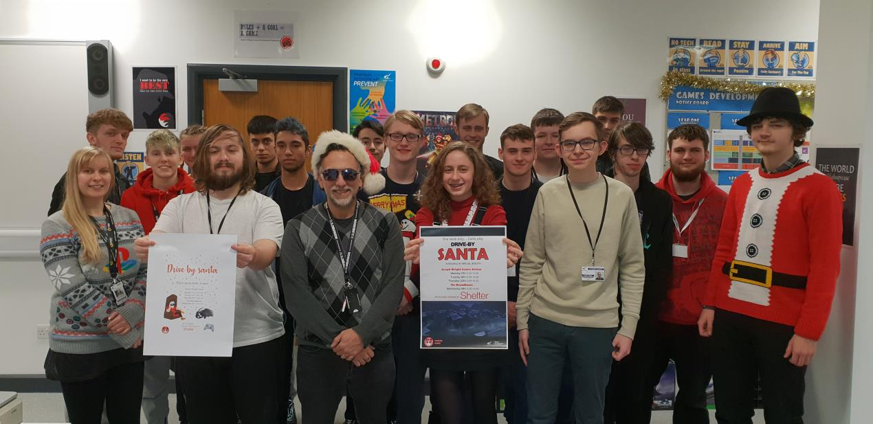 Games Development students and staff who designed Drive By Santa