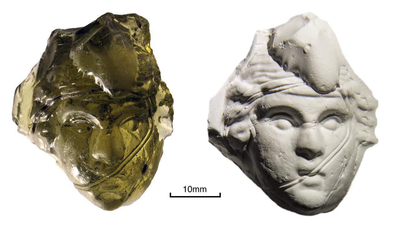 Scotch Corner glass medallion of Bacchus