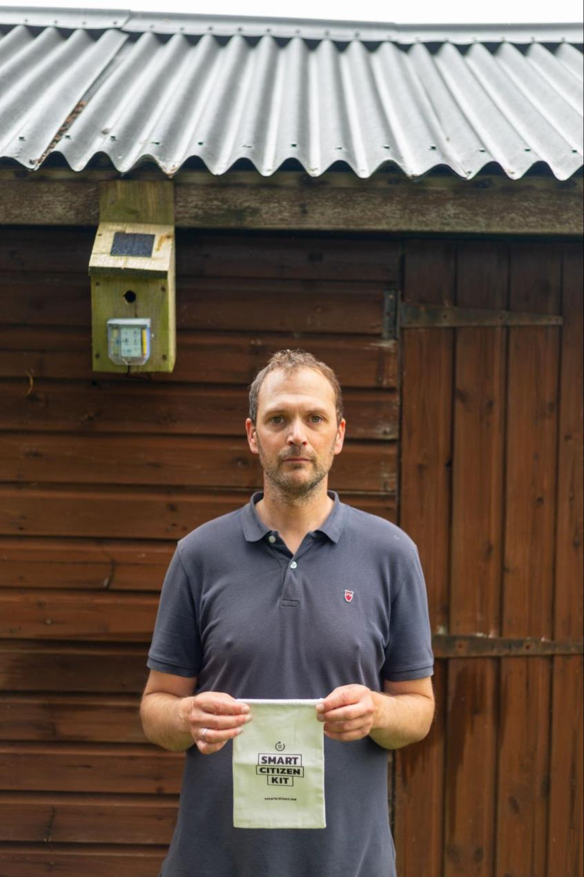 Local participant Tim Wornell with his Smart Citizen Kit (Photo credit - Ray Goodwin)