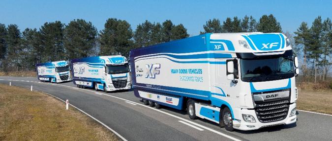 DAF XF Trucks Operating in a Platoon