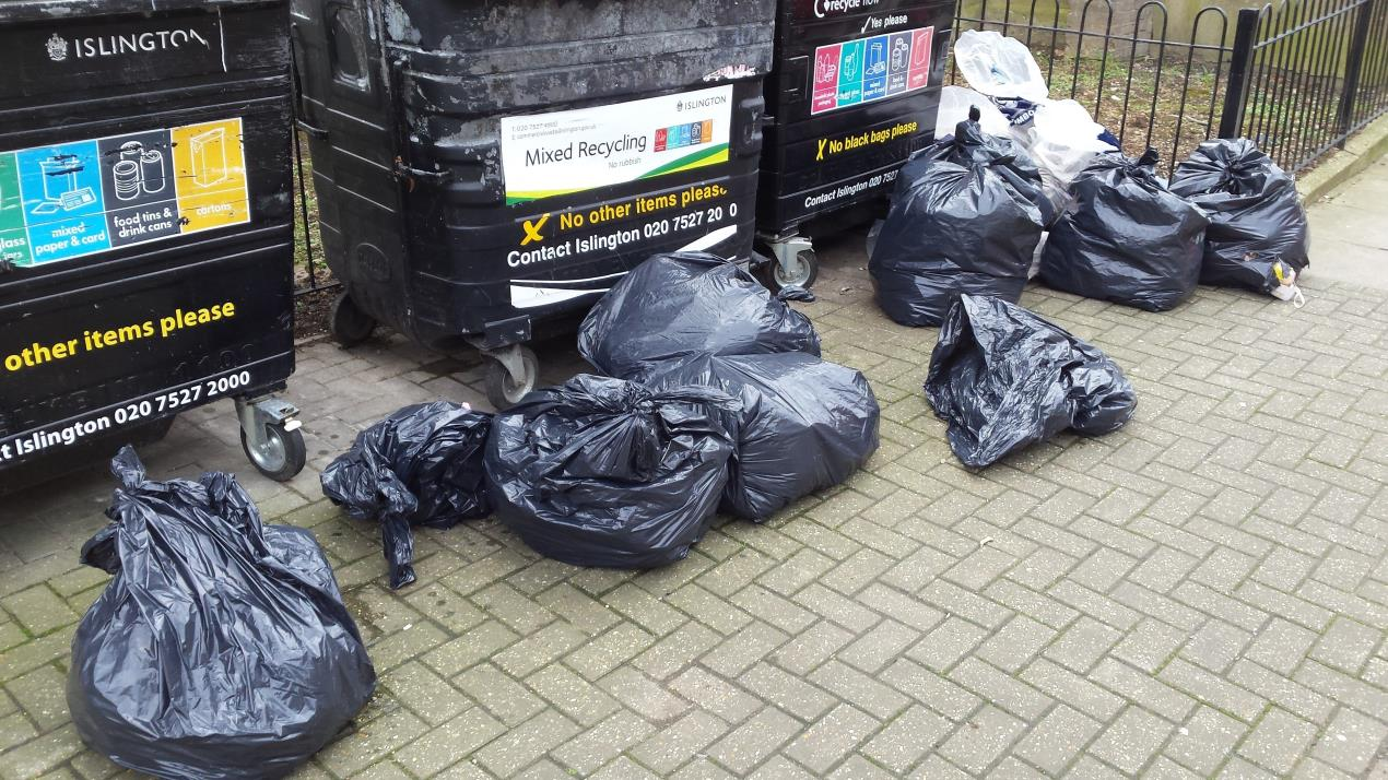 The black bin bags recovered from the residential recycling centre.