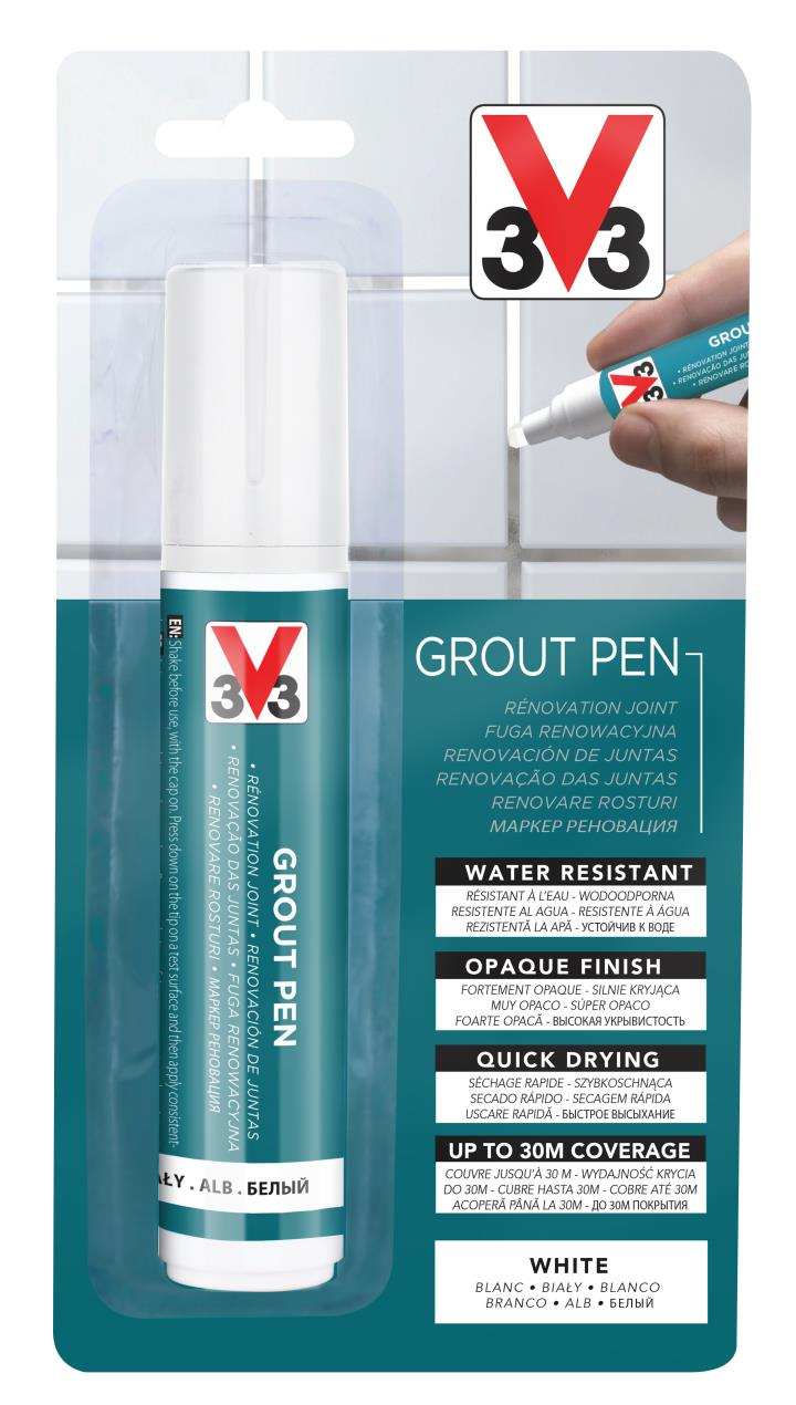 The V33 Grout Pen puts the ease back into freshening up your tile grouting.