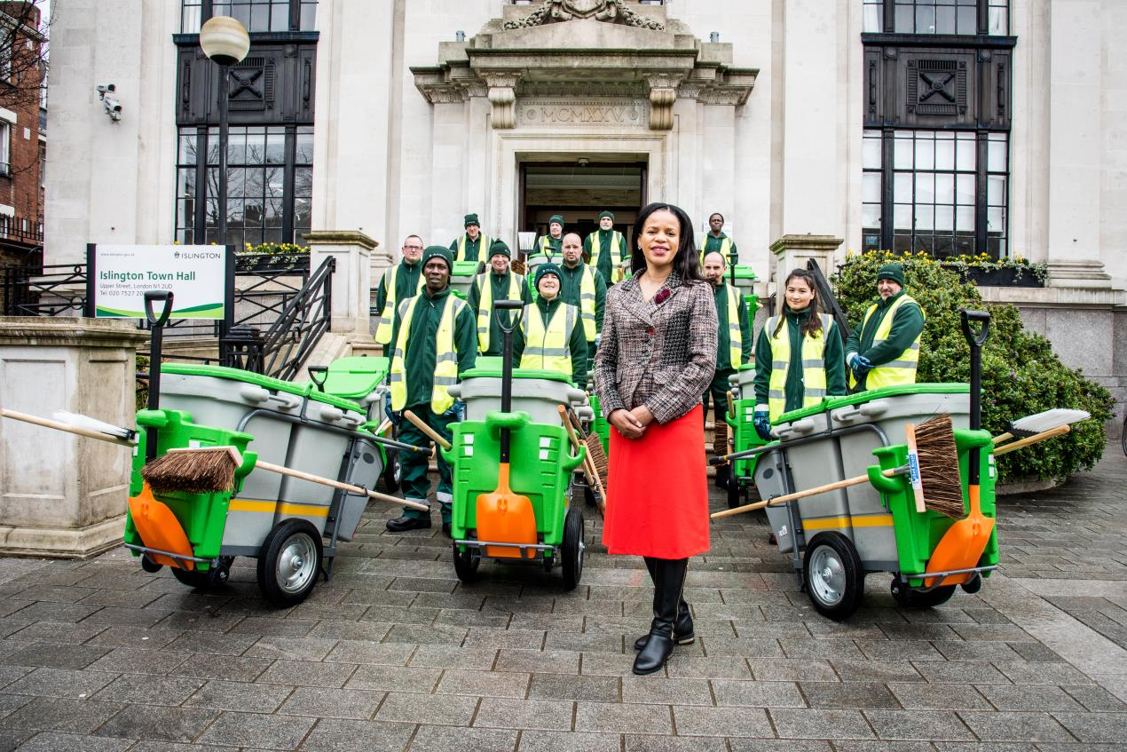 Cllr Claudia Webbe, executive member for environment and transport, at Islington Town Hall with some of the street beat sweepers.