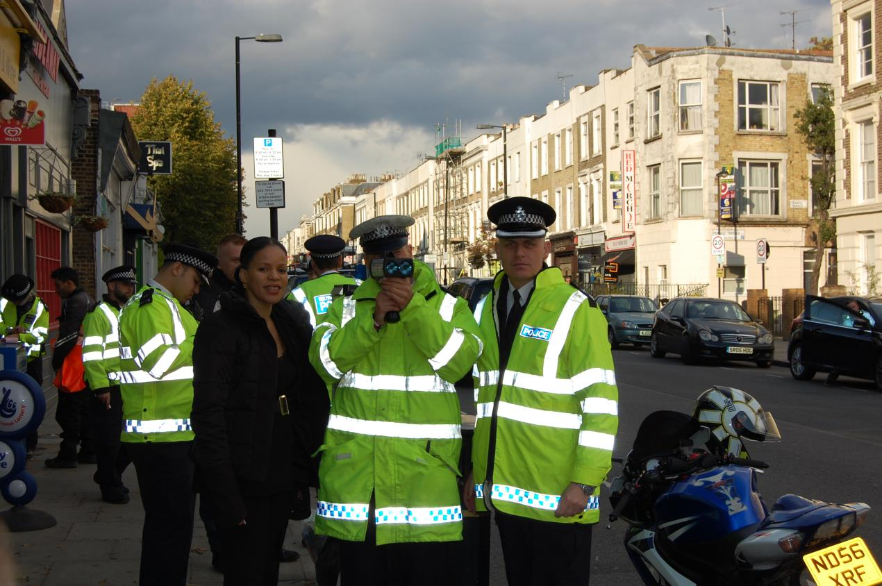 Cllr Claudia Webbe with police at one of the first 20mph enforcement sessions in Islington