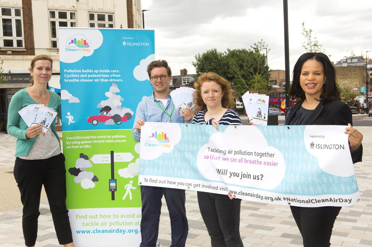 Cllr Webbe, right, helps launch the first-ever National Clean Air Day in Islington with the council's Archway ZEN and air quality teams.