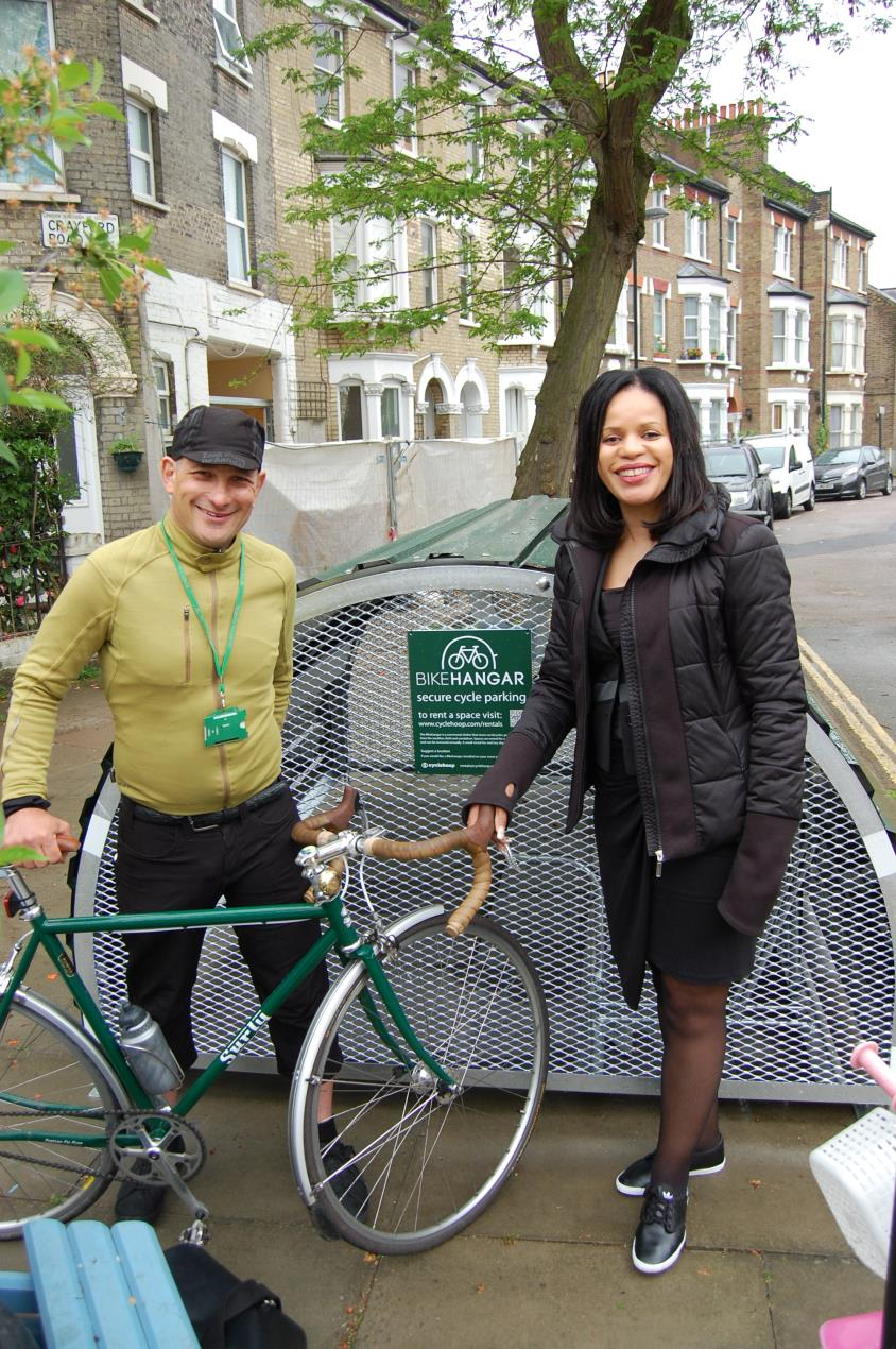 Cllr_Claudia_Webbe_and_cycling_officer_David_Shannon_at_the_new_Bikehangar_in_Crayford_Road%2c_Holloway.