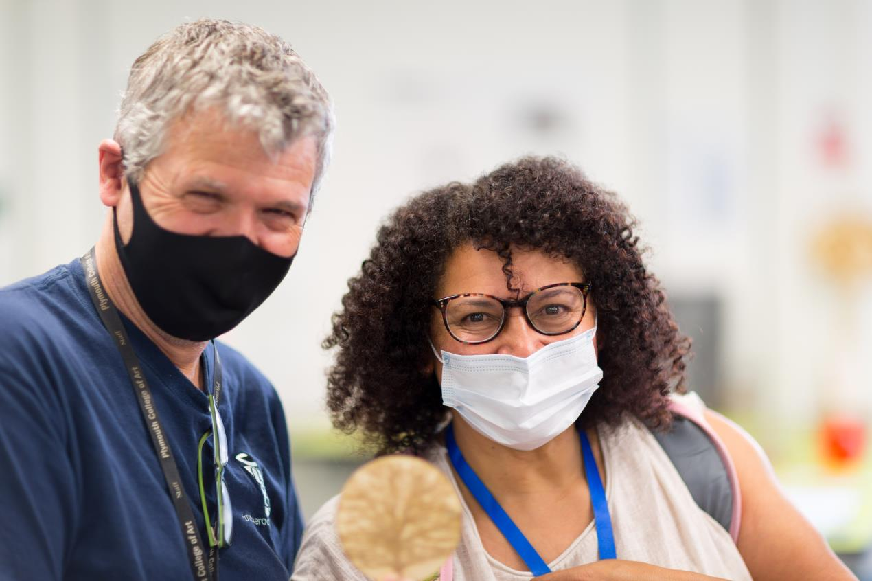 Open Day visitor, Vanessa Crosse, with Ian Hankey at Fab Lab Plymouth_Credit_Ray Goodwin