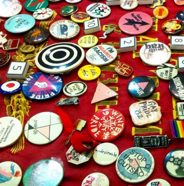 Historic Pride badges, from a display at Islington Museum
