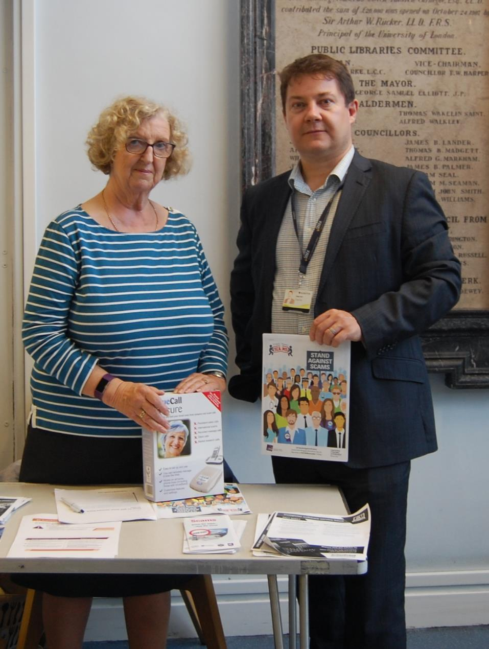 New Scambassador Cllr Andy Hull and Janice Chisholm from Trading Standards