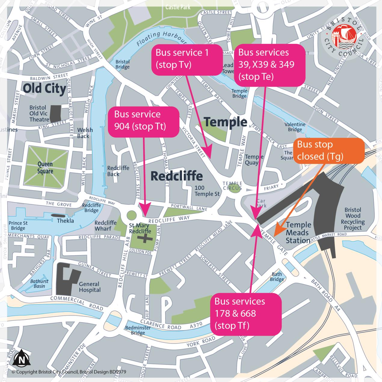 Operational Note: Changes to bus services around Temple Meads station from 10pm Sunday 22 October
