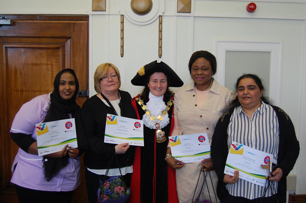 Star carers are recognised at Islington's Dignity in Care Awards for going the extra mile (L-R – Hibo Farah; Sue Raghip; Cllr Una O'Halloran, The Mayor of Islington; Regina Lieber; Rooksanoh Karuntalle).