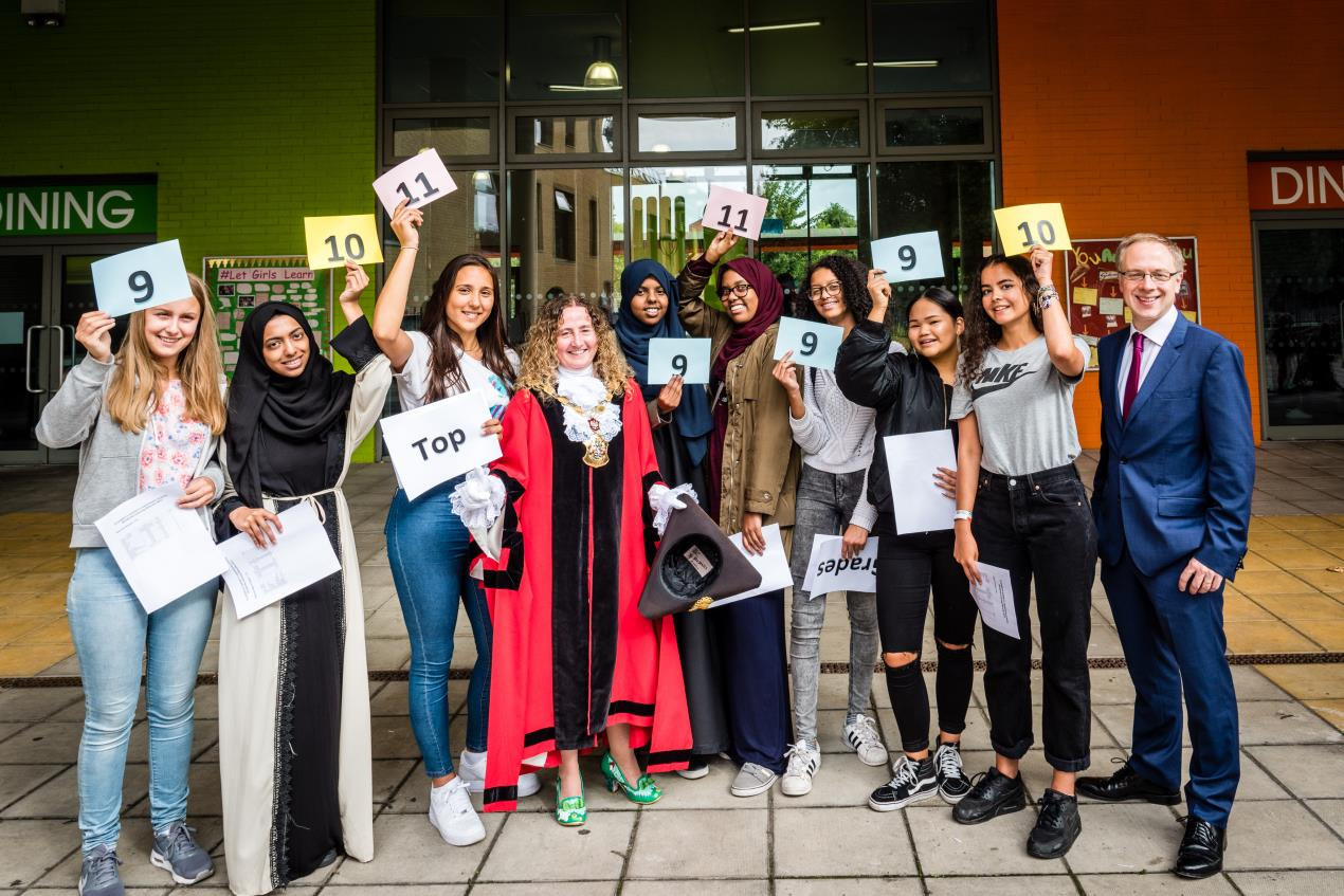 Students_celebrate_with_the_Mayor_of_Islington_and_council_leader_Cllr_Richard_Watts_at_Elizabeth_Garrett_Anderson_School.
