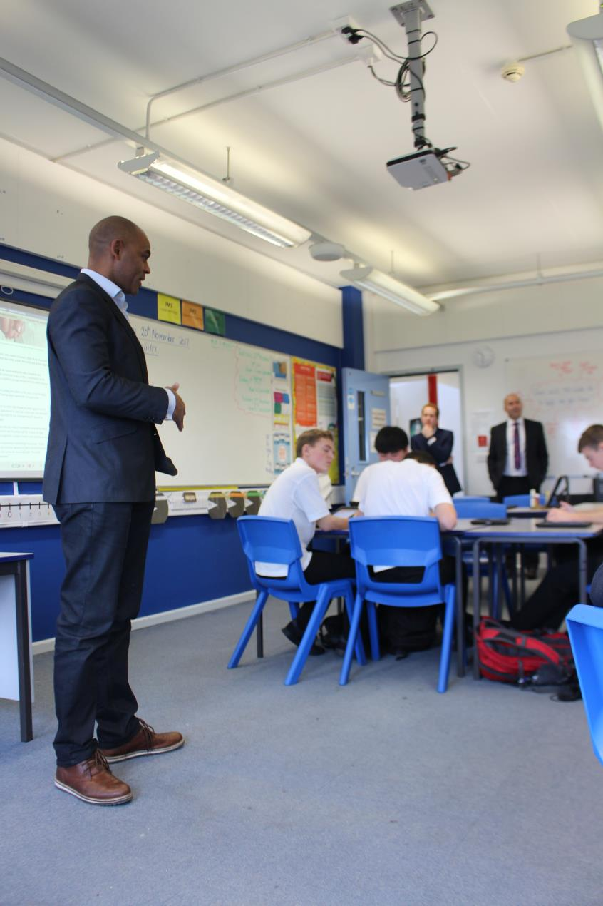 Marvin Rees presents the Bristol Budget Simulator to pupils and staff at bedminster Down School