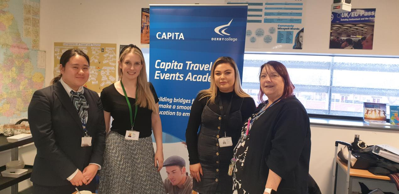 Student Alicia Chan, Capita's Zoe Keetley Bowditch and Rebecca Reilly with Ruth Benn